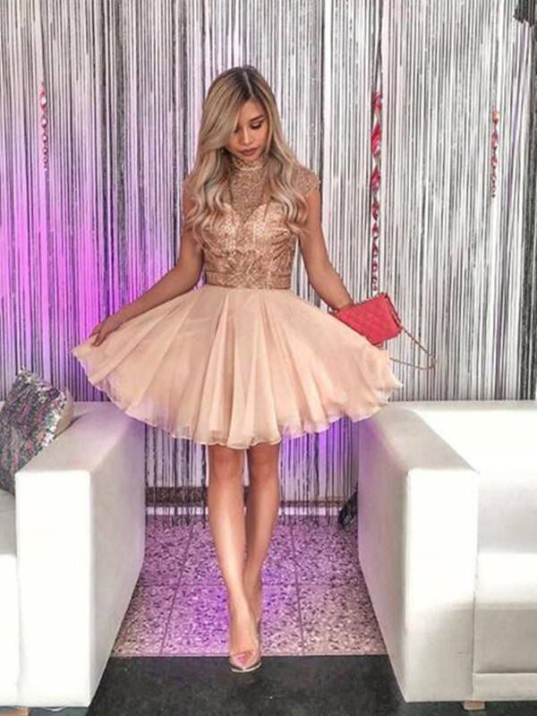 Short/Mini A-Line/Princess High Neck Sleeveless Chiffon Homecoming Dress