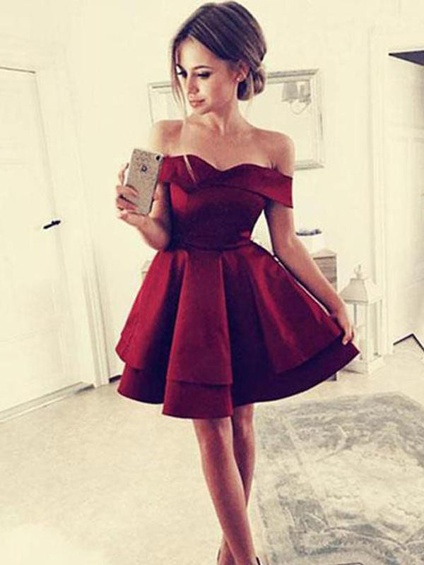 Short/Mini A-Line/Princess Off-the-Shoulder Sleeveless Satin Homecoming Dress