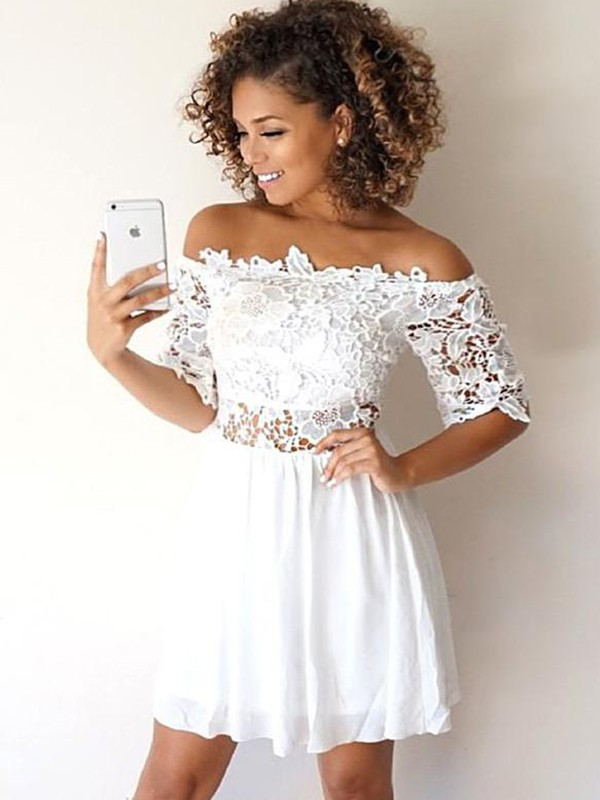Short/Mini A-Line/Princess Off-the-Shoulder 1/2 Sleeves Chiffon Homecoming Dress