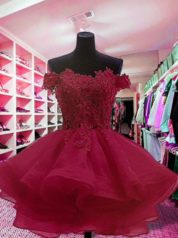 Short/Mini Ball Gown Off-the-Shoulder Sleeveless Organza Dresses