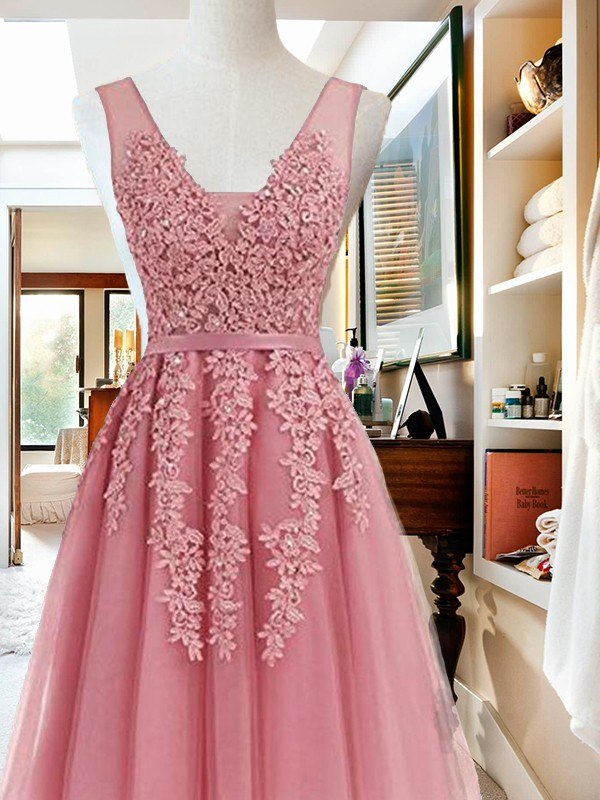 Short/Mini A-Line/Princess V-neck Sleeveless Tulle Dresses
