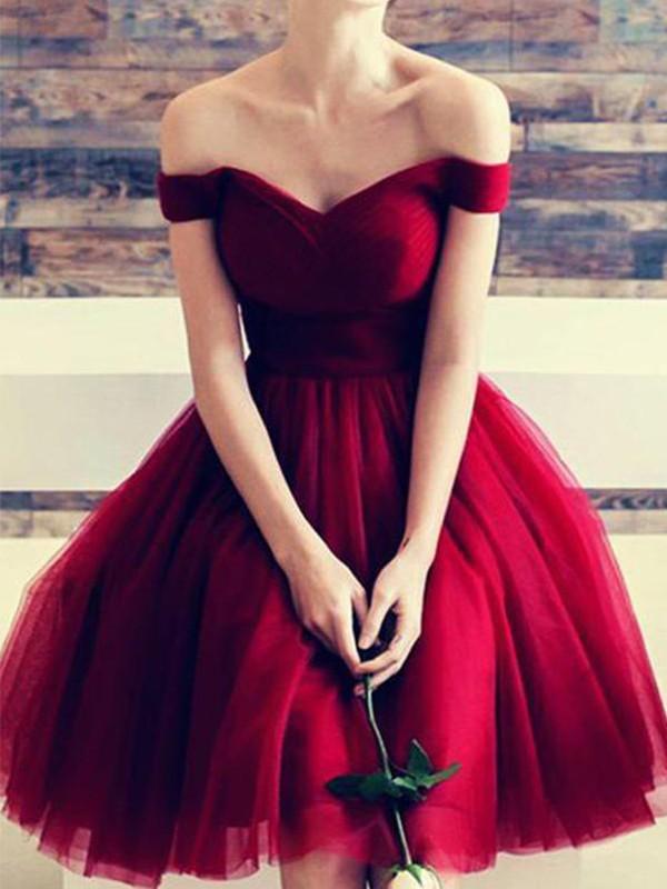 Short/Mini A-Line/Princess Off-the-Shoulder Sleeveless Tulle Dresses