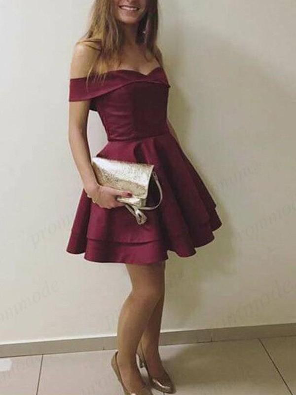 Short/Mini A-Line/Princess Off-the-Shoulder Sleeveless Satin Dresses