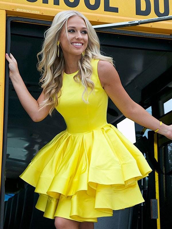 Short/Mini A-Line/Princess Scoop Sleeveless Satin Dresses