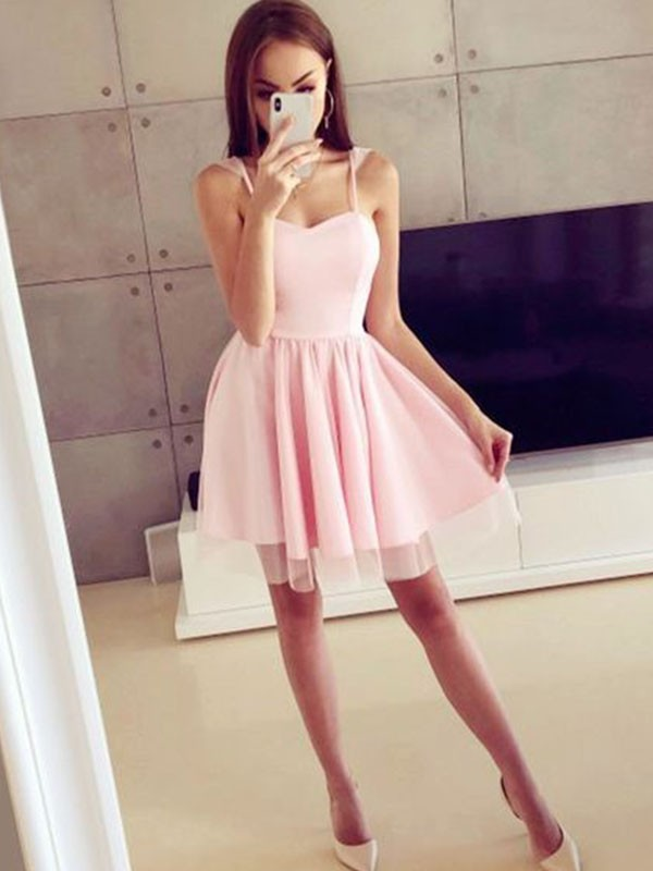 Short/Mini A-Line/Princess Spaghetti Straps Sleeveless Satin Dresses