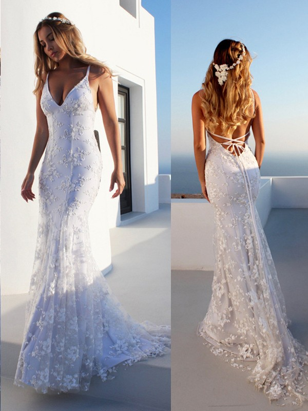 Court Train Trumpet/Mermaid Spaghetti Straps Sleeveless Lace Wedding Dresses