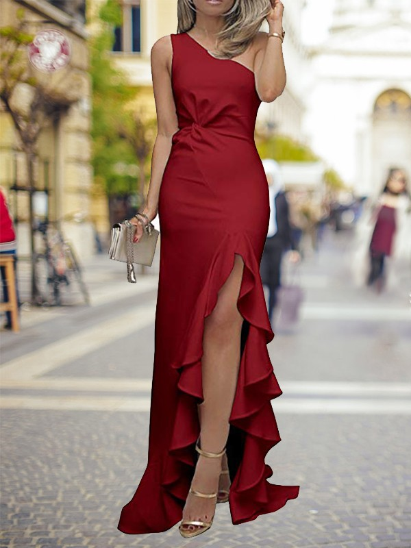 Sweep/Brush Train Sheath/Column One-Shoulder Sleeveless Satin Dresses