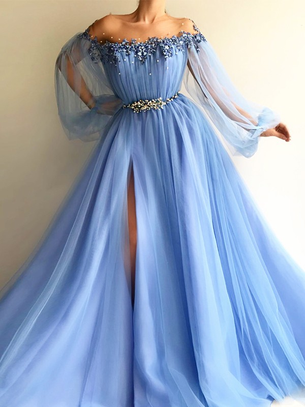 Floor-Length A-Line/Princess Off-the-Shoulder Long Sleeves Tulle Dresses