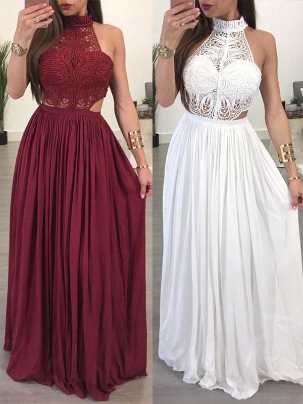 Floor-Length A-Line/Princess Halter Sleeveless Chiffon Dresses