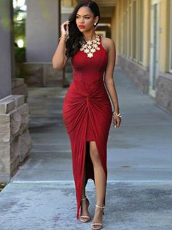 Asymmetrical Sheath/Column Jewel Sleeveless Spandex Dresses