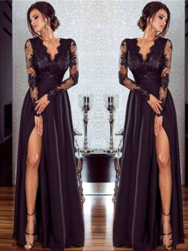 Floor-Length A-Line/Princes V-neck Long Sleeves Chiffon Dresses