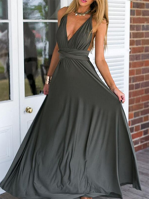 Floor-Length Empire V-neck Sleeveless Spandex Dresses
