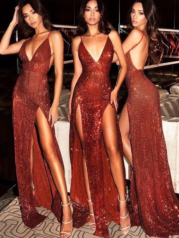 Sweep/Brush Train Sheath/Column V-neck Sleeveless Sequins Dresses