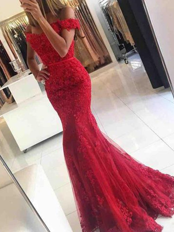 9c0053ec718 Sweep Brush Train Trumpet Mermaid Off-the-Shoulder Sleeveless Tulle Dresses