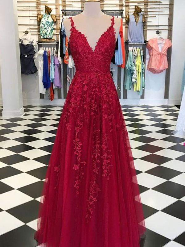 06aa9708104 Floor-Length A-Line Princess V-neck Sleeveless Tulle Dresses