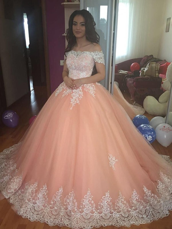 Court Train Ball Gown Off-the-Shoulder Sleeveless Tulle Dresses