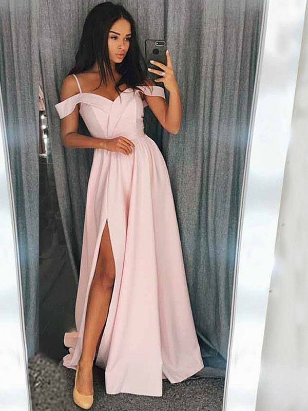 Sweep/Brush Train A-Line/Princess Off-the-Shoulder Sleeveless Satin Dresses