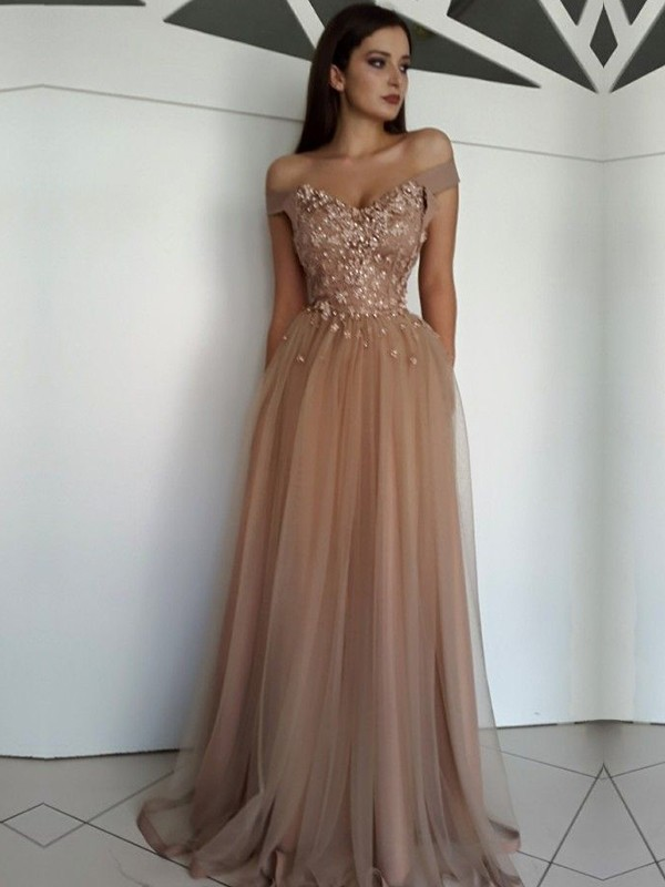 e35332ea2d Floor-Length A-Line/Princess Off-the-Shoulder Sleeveless Tulle Dresses