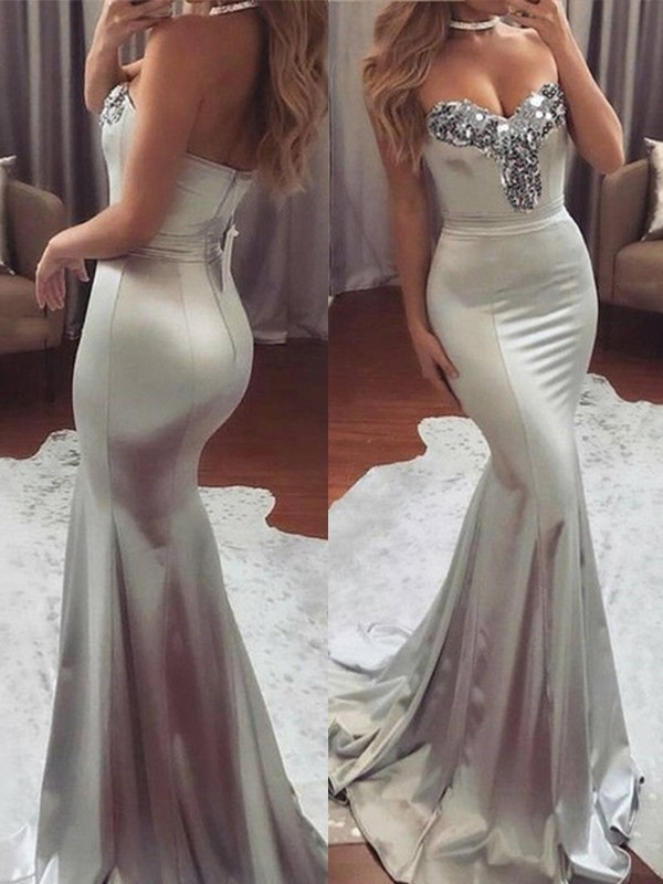 Sweep/Brush Train Trumpet/Mermaid Sweetheart Sleeveless Satin Dresses