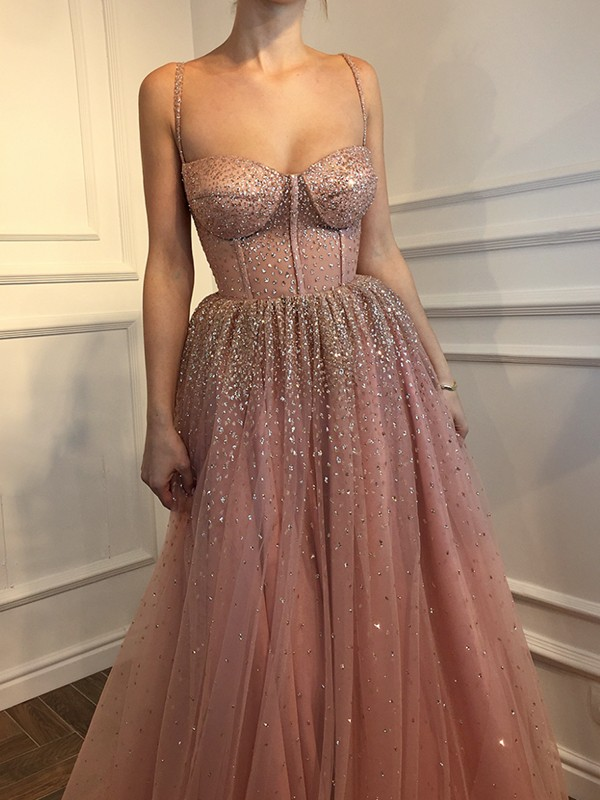 Floor-Length A-Line/Princess Spaghetti Straps Sleeveless Tulle Dresses