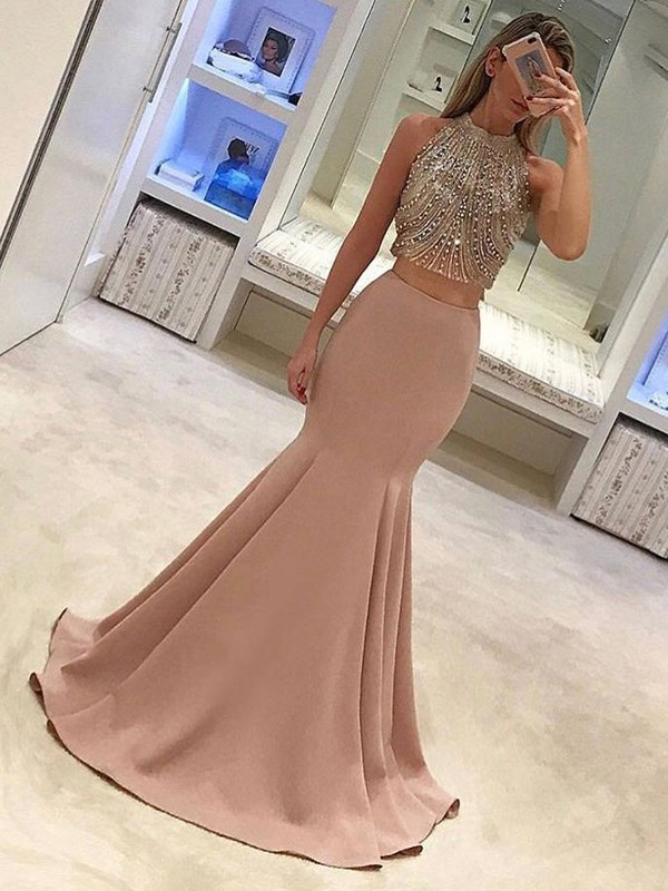 Sweep/Brush Train Trumpet/Mermaid High Neck Sleeveless Satin Dresses