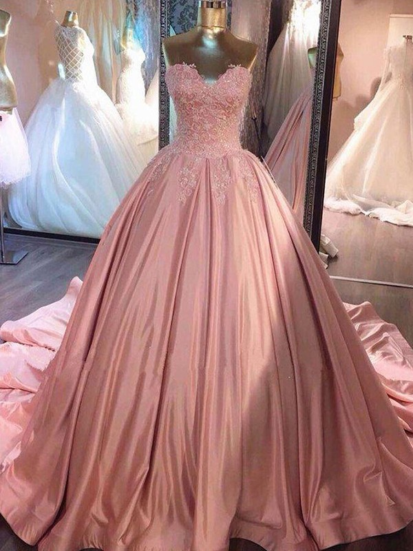 Court Train Ball Gown Sweetheart Sleeveless Satin Dresses