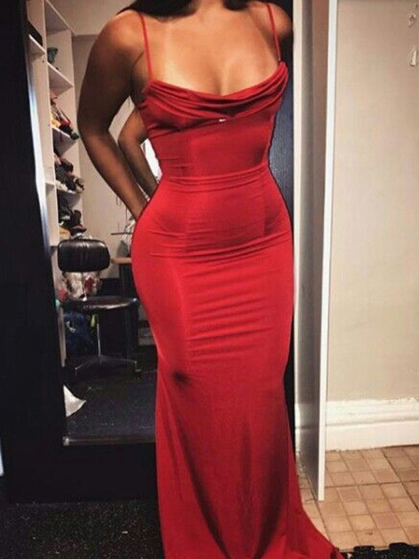 Floor-Length Sheath/Column Spaghetti Straps Sleeveless Spandex Dresses