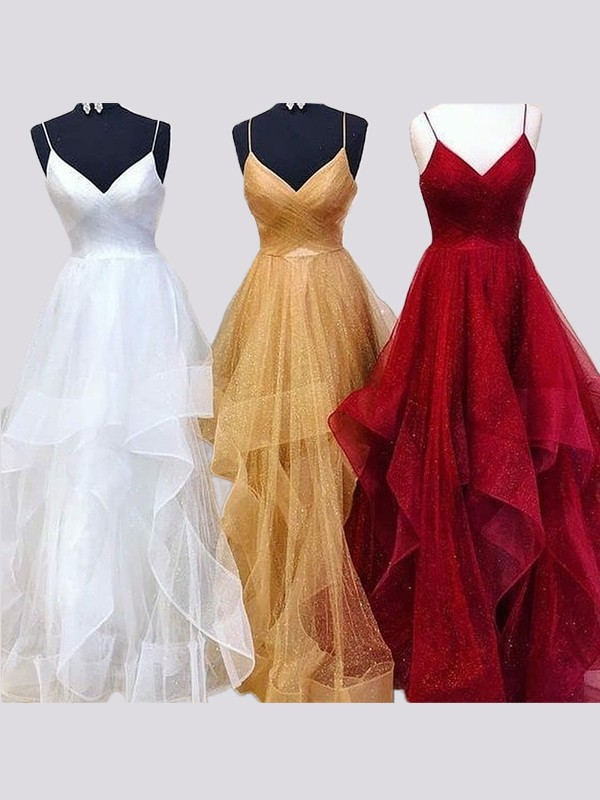 Floor-Length A-Line/Princess Spaghetti Straps Sleeveless Organza Dresses