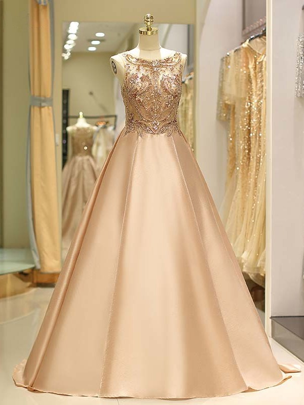 Sweep/Brush Train Ball Gown Bateau Sleeveless Satin Dresses