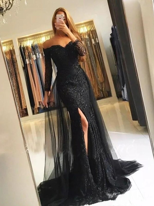 Sweep/Brush Train Trumpet/Mermaid Off-the-Shoulder Long Sleeves Tulle Dresses