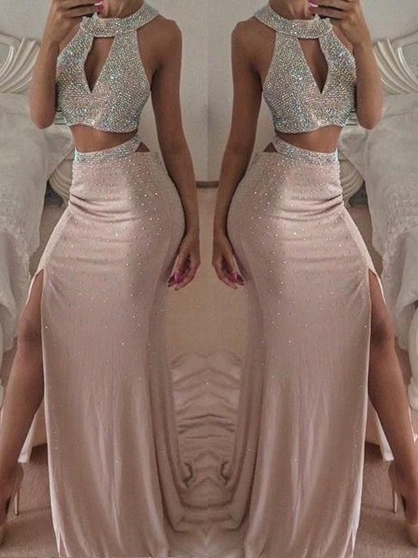 Floor-Length Trumpet/Mermaid Halter Sleeveless Chiffon Dresses