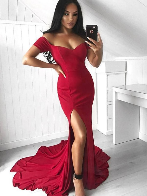 Court Train Trumpet/Mermaid Off-the-Shoulder Sleeveless Spandex Dresses