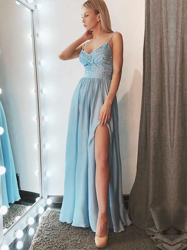 Floor-Length A-Line/Princess Spaghetti Straps Sleeveless Chiffon Dresses