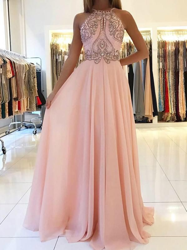 Sweep Train A-Line/Princess Halter Sleeveless Tulle Dresses