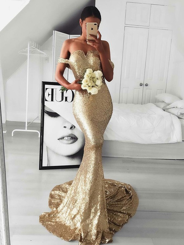 Sweep/Brush Train Trumpet/Mermaid Off-the-Shoulder Sleeveless Sequins Dresses