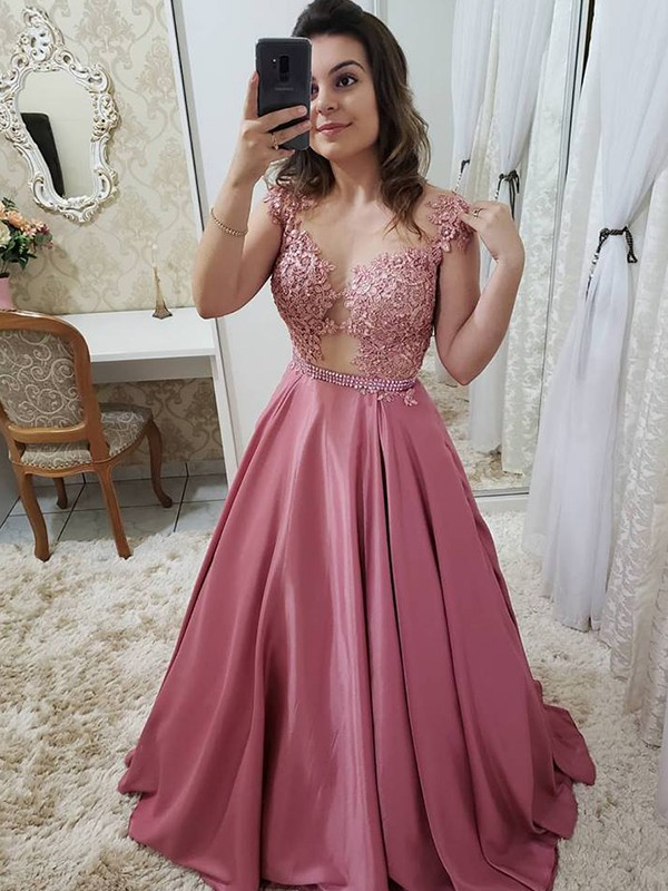 Floor-Length A-Line/Princess Scoop Sleeveless Satin Dresses