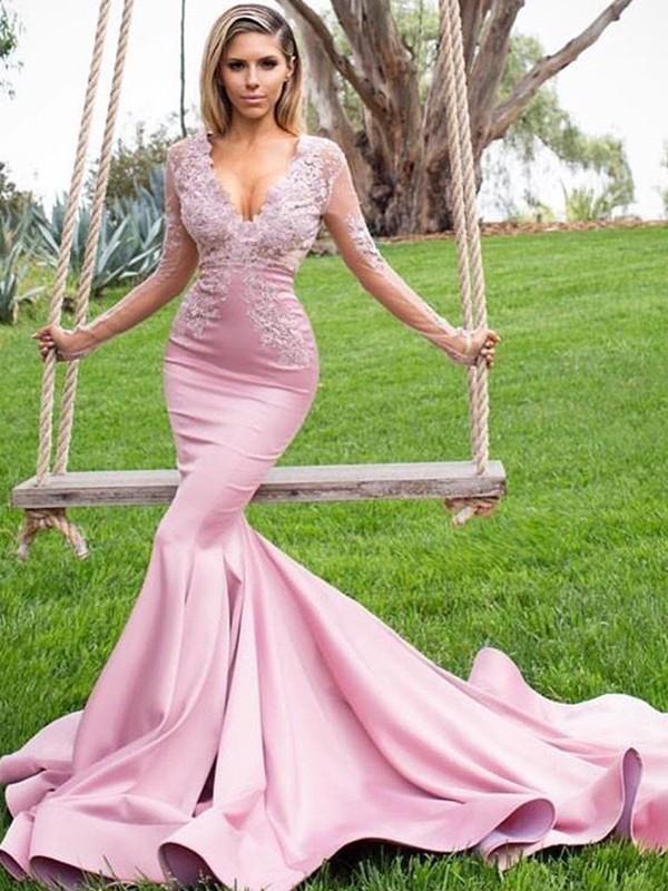 Sweep/Brush Train Trumpet/Mermaid V-neck Long Sleeves Satin Dresses