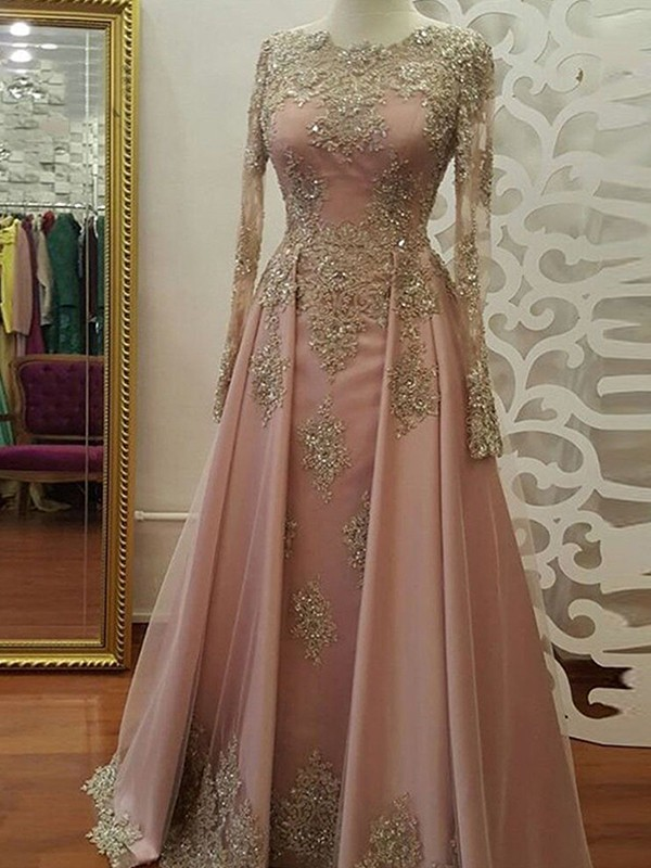 Floor-Length A-Line/Princess Scoop Long Sleeves Tulle Dresses