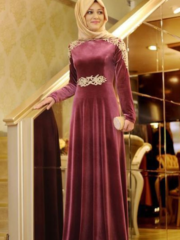 Floor-Length A-Line/Princess Scoop Long Sleeves Velvet Dresses
