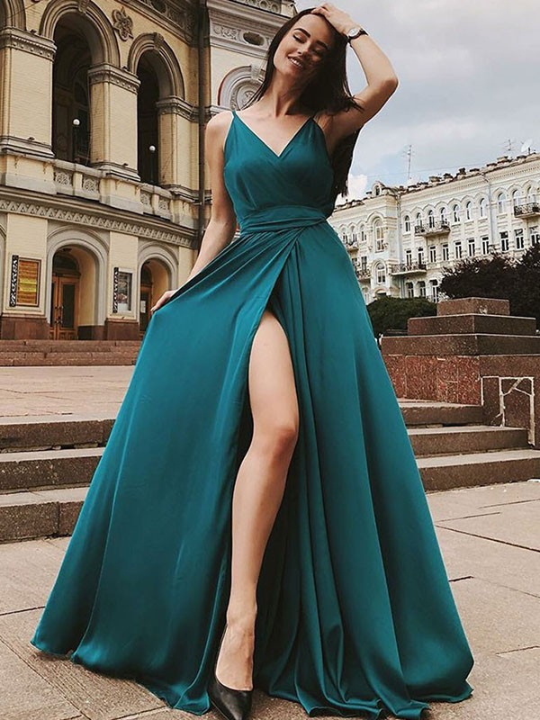Sweep/Brush Train A-Line/Princess Straps Sleeveless Satin Chiffon Dresses