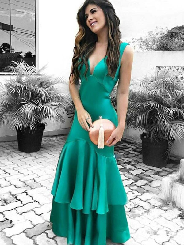 Floor-Length Sheath/Column V-neck Sleeveless Satin Dresses