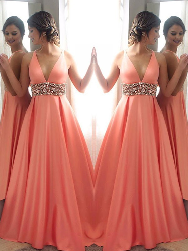 Sweep/Brush Train A-Line/Princess V-neck Sleeveless Satin Dresses