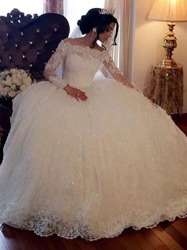 Floor-Length Ball Gown Bateau Long Sleeves Tulle Wedding Dresses