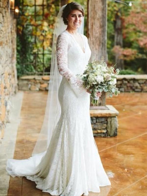 Sweep/Brush Train Trumpet/Mermaid V-neck Long Sleeves Lace Wedding Dresses