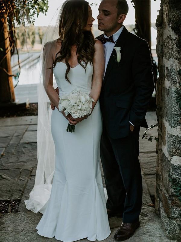 Sweep/Brush Train Sheath/Column Sweetheart Sleeveless Satin Wedding Dresses