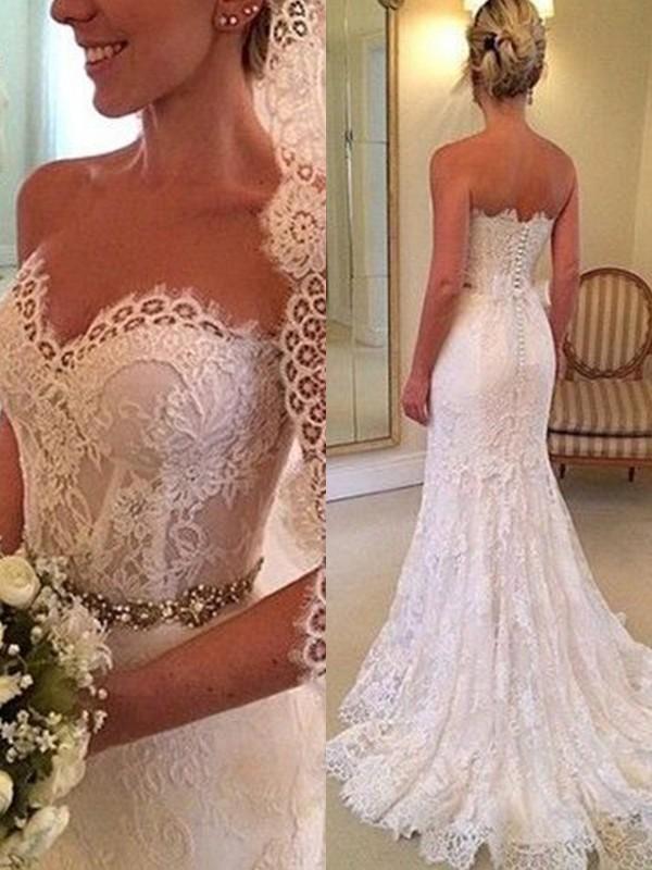 Sweep/Brush Train Sheath/Column Sweetheart Sleeveless Lace Wedding Dresses