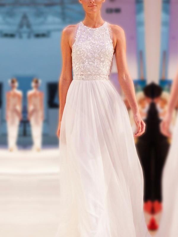 Floor-Length A-Line/Princess Jewel Sleeveless Chiffon Wedding Dresses