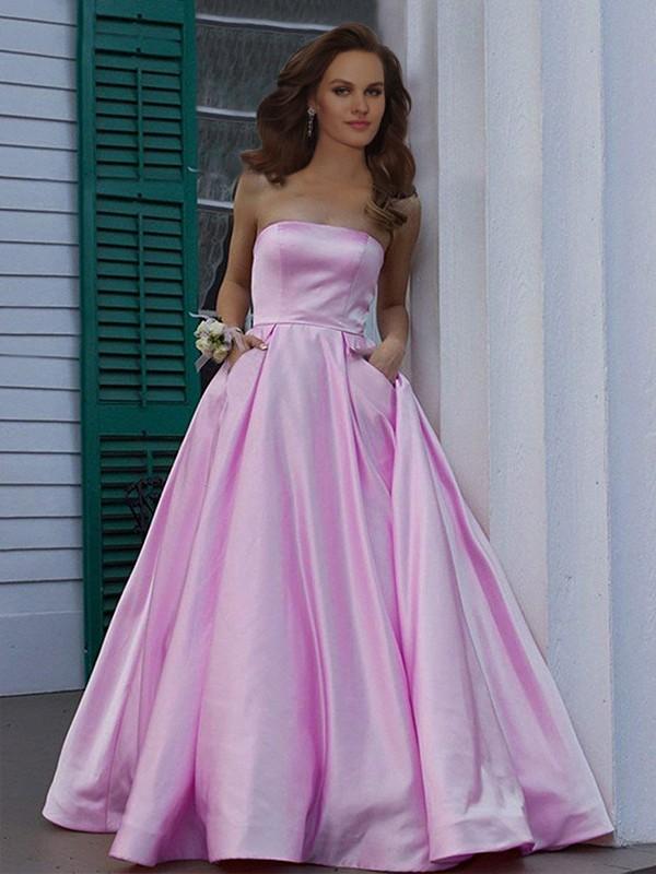 Floor-Length A-Line/Princess Strapless Sleeveless Satin Dresses
