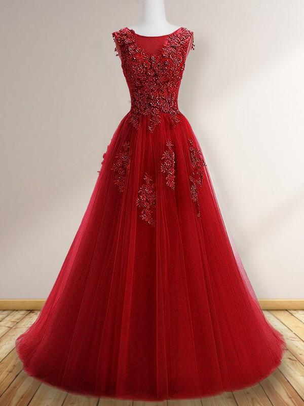 Floor-Length A-Line/Princess Scoop Sleeveless Tulle Dresses