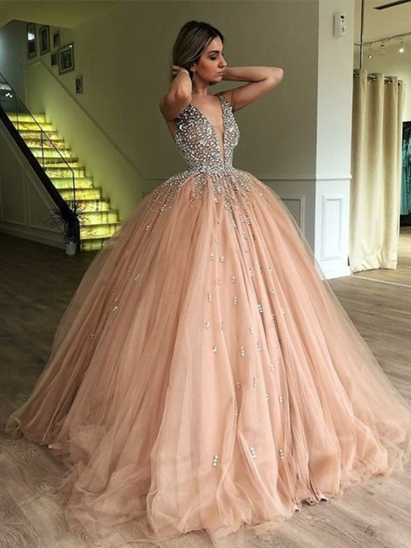 8edb49889 Court Train Ball Gown V-neck Sleeveless Beading Tulle Dresses - Miagal